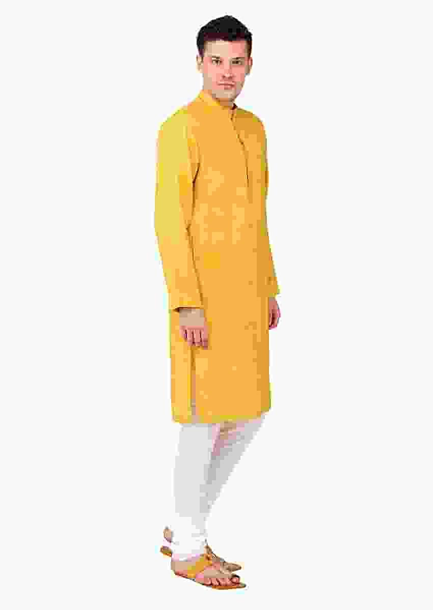 Yellow Kurta And Pyjama Set In Linen With Green Pin Tucks In Vertical And Diagonal Stripes By Mayank Modi