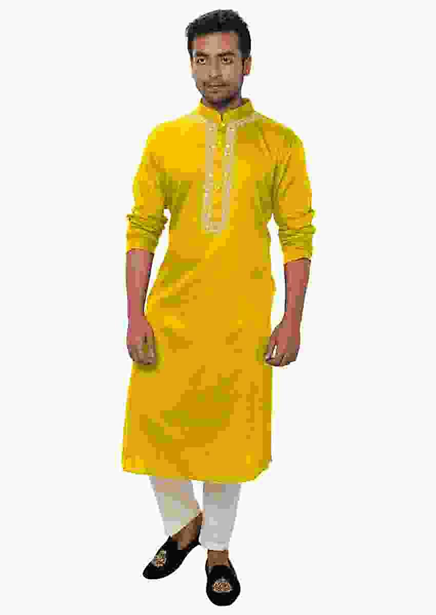 Yellow Kurta Set With White Threadwork Embroidery Online - Kalki Fashion