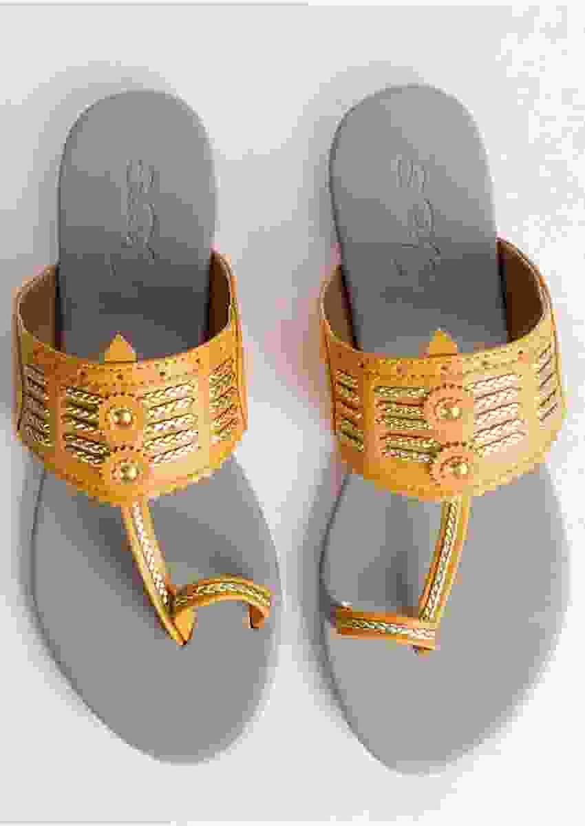 Yellow Multi Braid Kolhapuri With Light Grey Base By Sole House