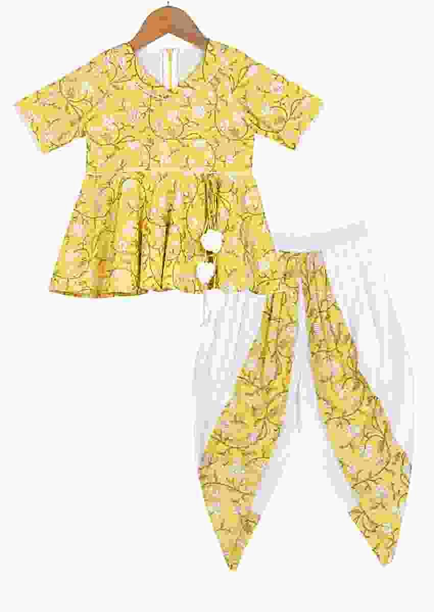 Yellow Peplum Top With Floral Print And White Dhoti Pants Online - Free Sparrow