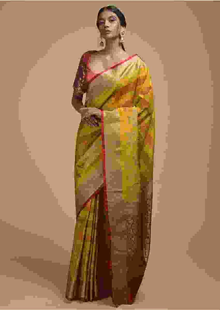 Yellow Pure Handloom Saree In Tussar Silk With Stripes And Woven Floral Border Online - Kalki Fashion