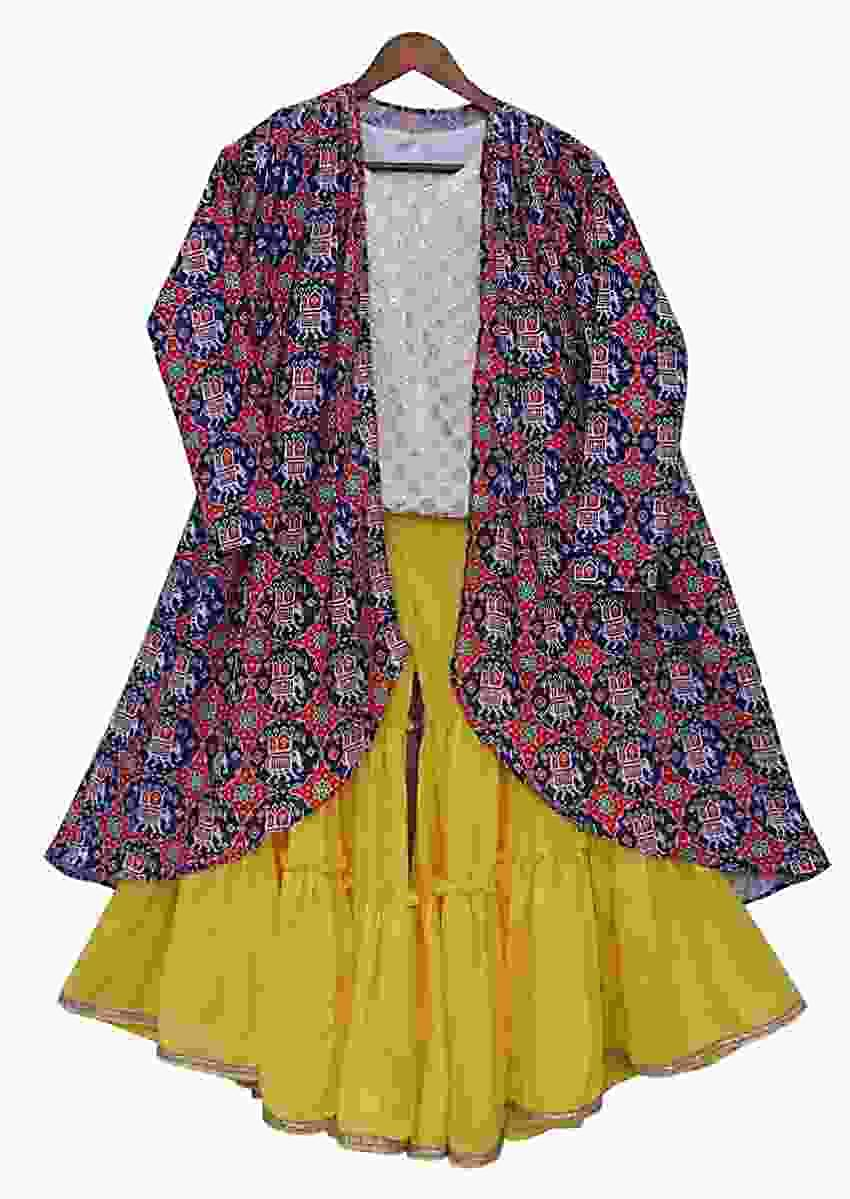 Yellow Sharara Suit With A Patola Printed Long Jacket By Fayon Kids