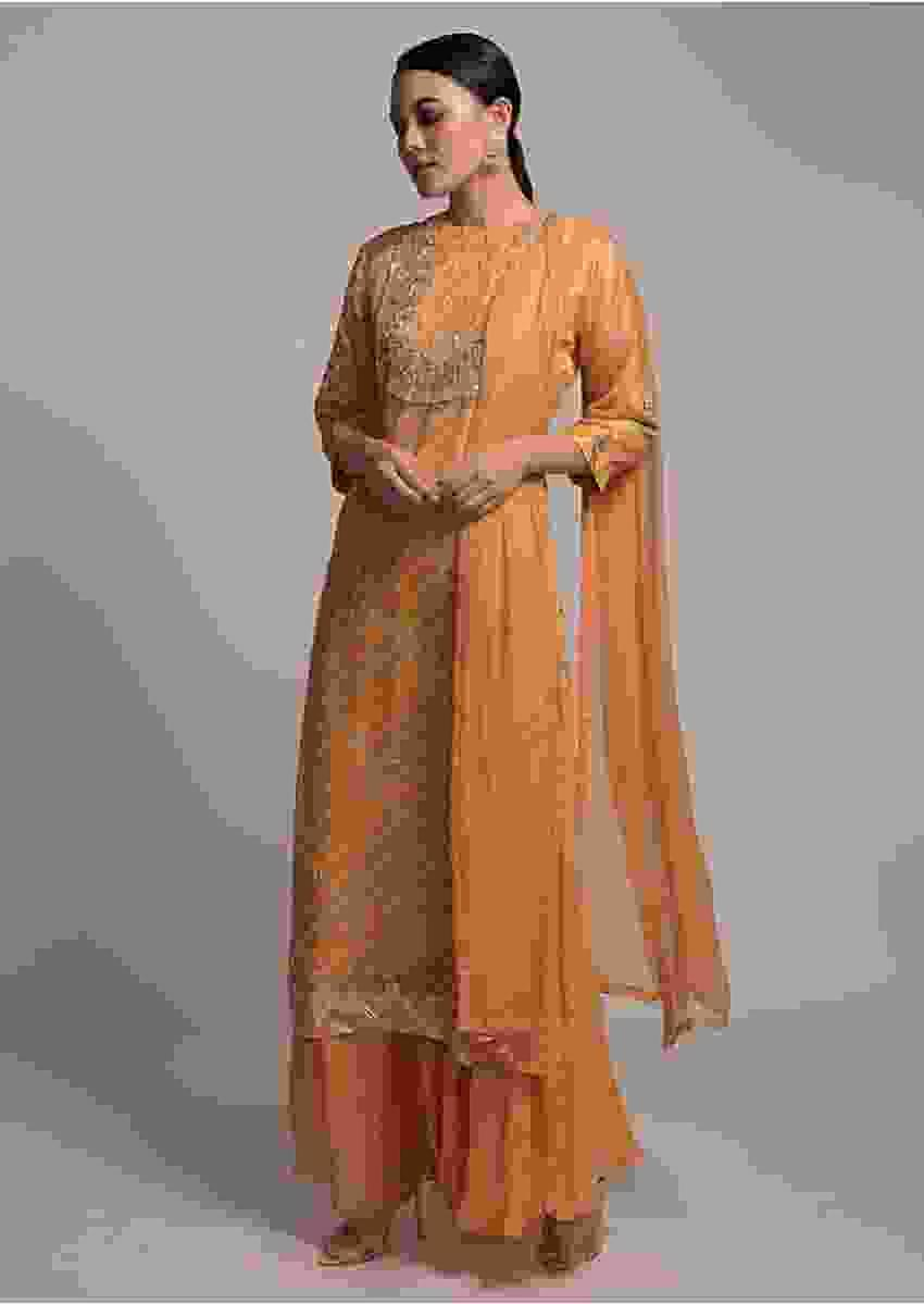 Yellow Sharara Suit With Lehariya Print And Gotta Work Online - Kalki Fashion