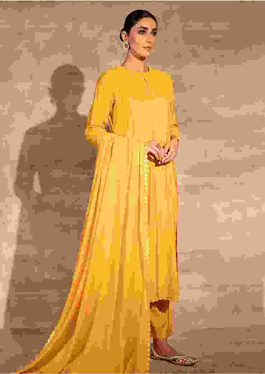 Yellow Straight Fit Kurta Set With Matching Pants And Mirror Embellished Dupatta Online - Kalki Fashion