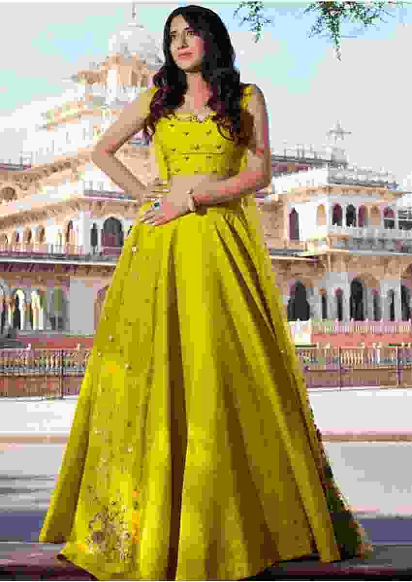 Yellow Lehenga In Tussar Silk And Crop Top With Matching Embroidered Net Jacket Online - Kalki Fashion