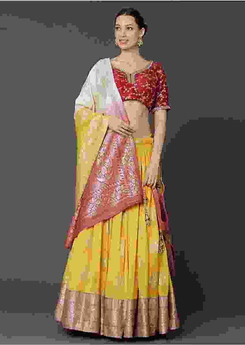 Yellow Lehenga And Maroon Choli With Zari Work And Cream Brocade Dupatta Online - Kalki Fashion