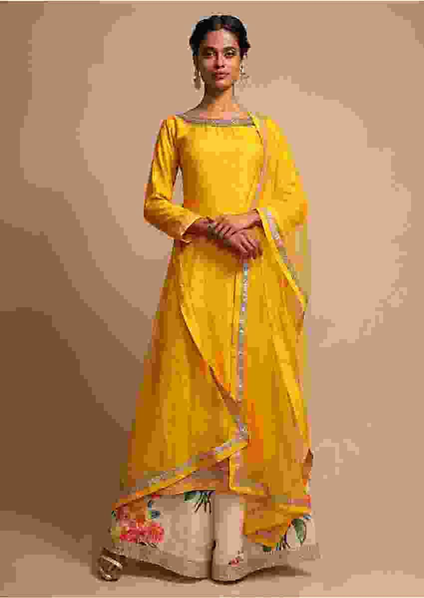 Yellow Palazzo Suit With Floral Print And Zari Embroidery Online - Kalki Fashion