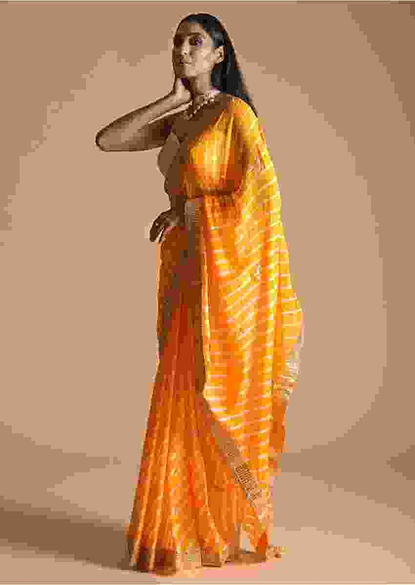 Yellow Saree With Lehariya Print And Gotta Patti Embroidered Buttis And Border Online - Kalki Fashion