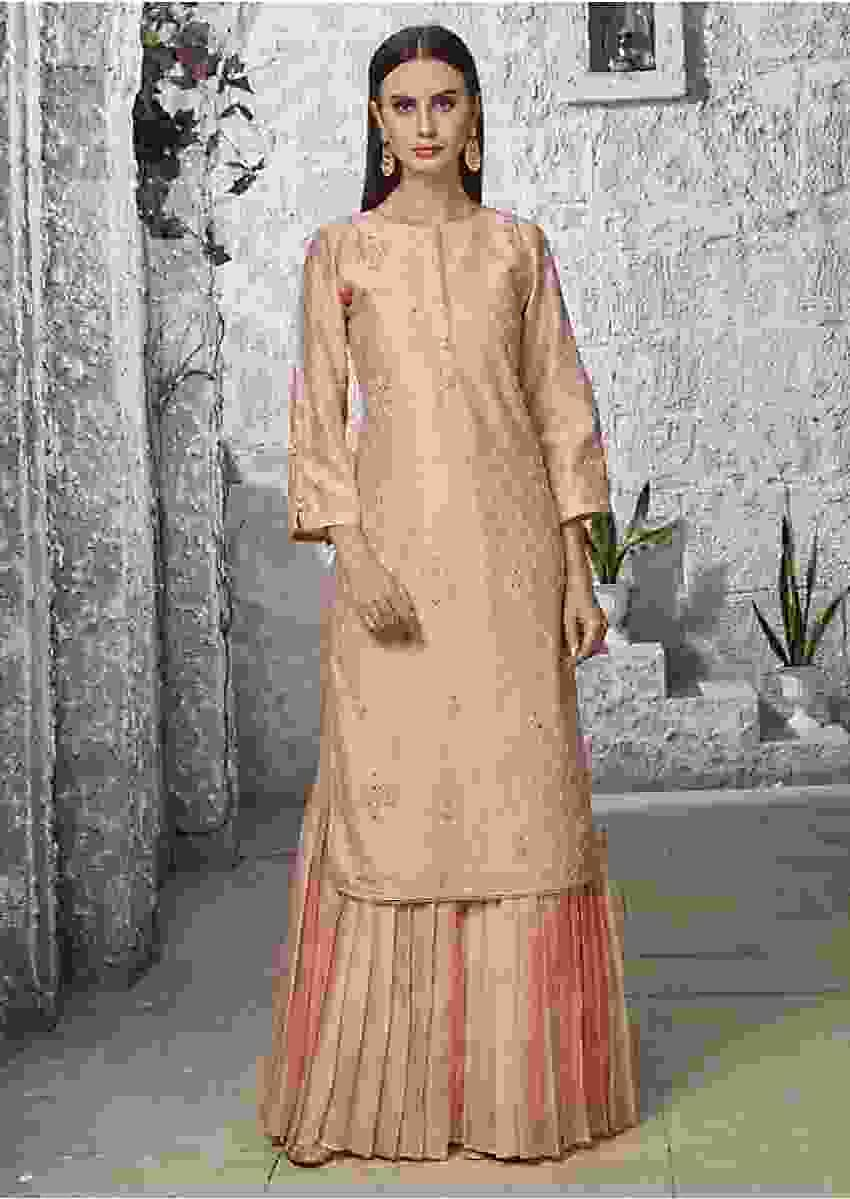 Youthful Coral Peach Suit In Silk With Pleated Sharara Online - Kalki Fashion