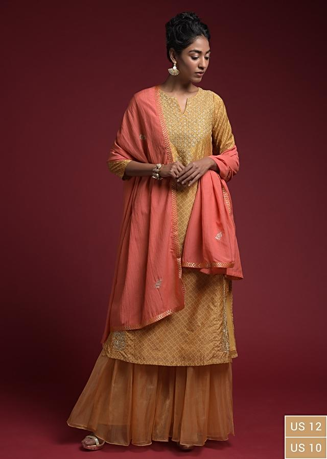Ochre Sharara Suit In Cotton Silk With Printed Moroccan Jaal And Cord Detailing On The Yoke Online - Kalki Fashion