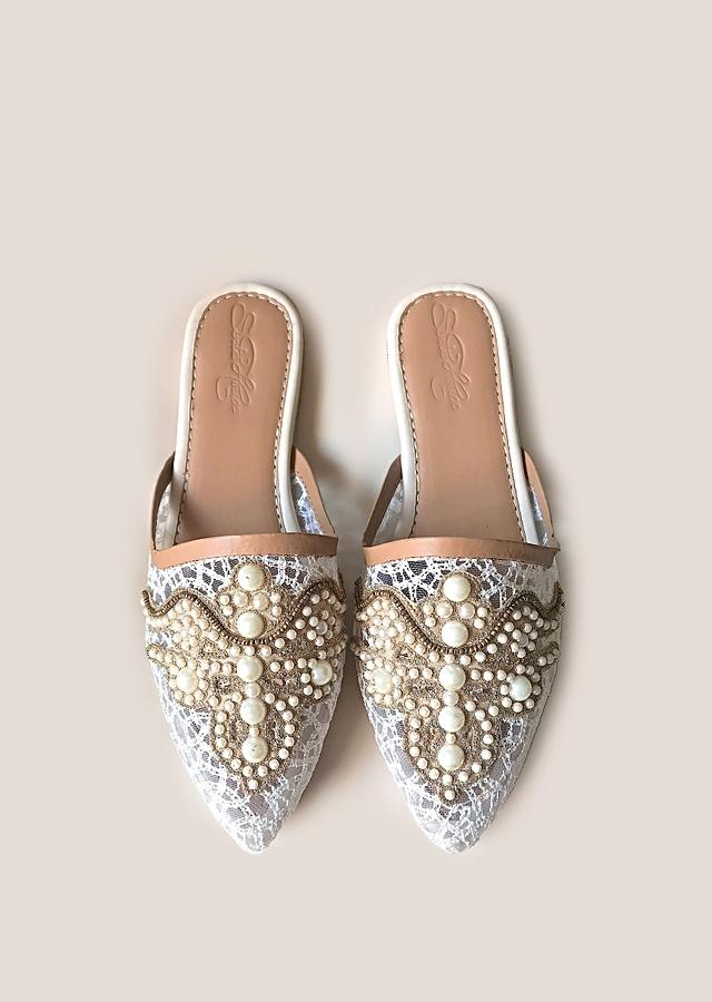 Cream Lace Mules With Accents Of Pearl And Zari Patchwork Online By Sole House