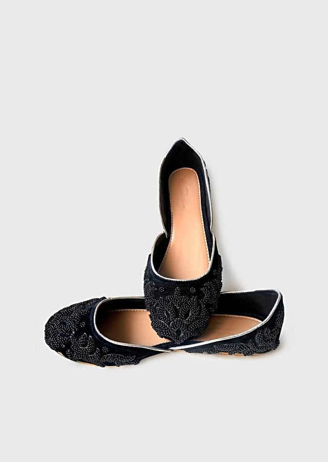 Black Ballet Flats In Velvet With Double Beaded Work In Ethnic Motif Online By Sole House