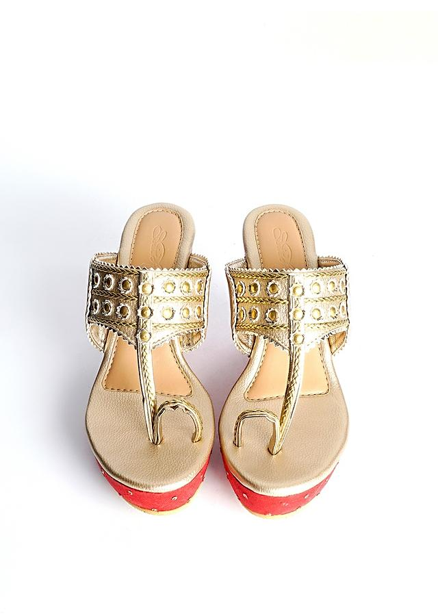 Gold Kolhapuri Wedges With Red Embroidered Heel By Sole House
