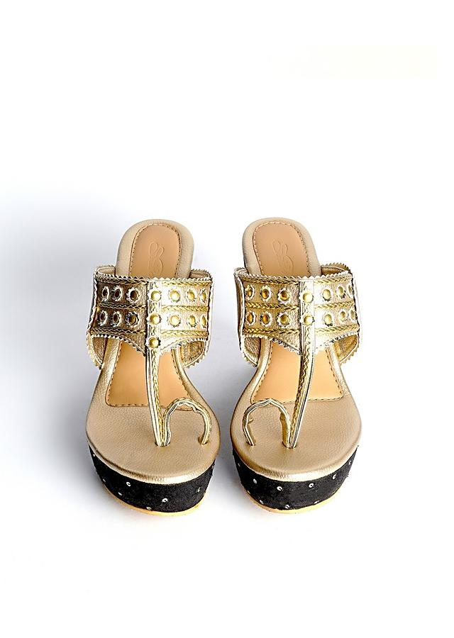 Gold Kolhapuri Wedges With Black Embroidered Heel By Sole House