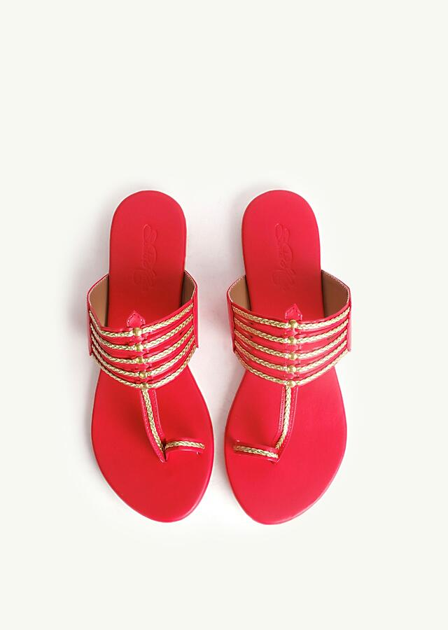 Red Kolhapuri With Gold Braiding And Gold Rivers By Sole House