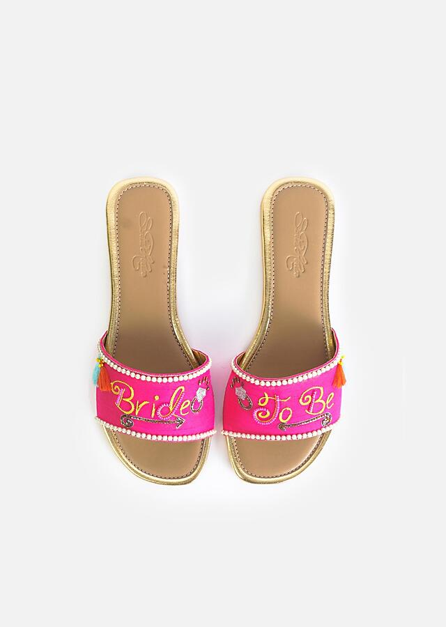 Fuchsia Pink Slider Flats With Thread Embroidered Bride To Be By Sole House