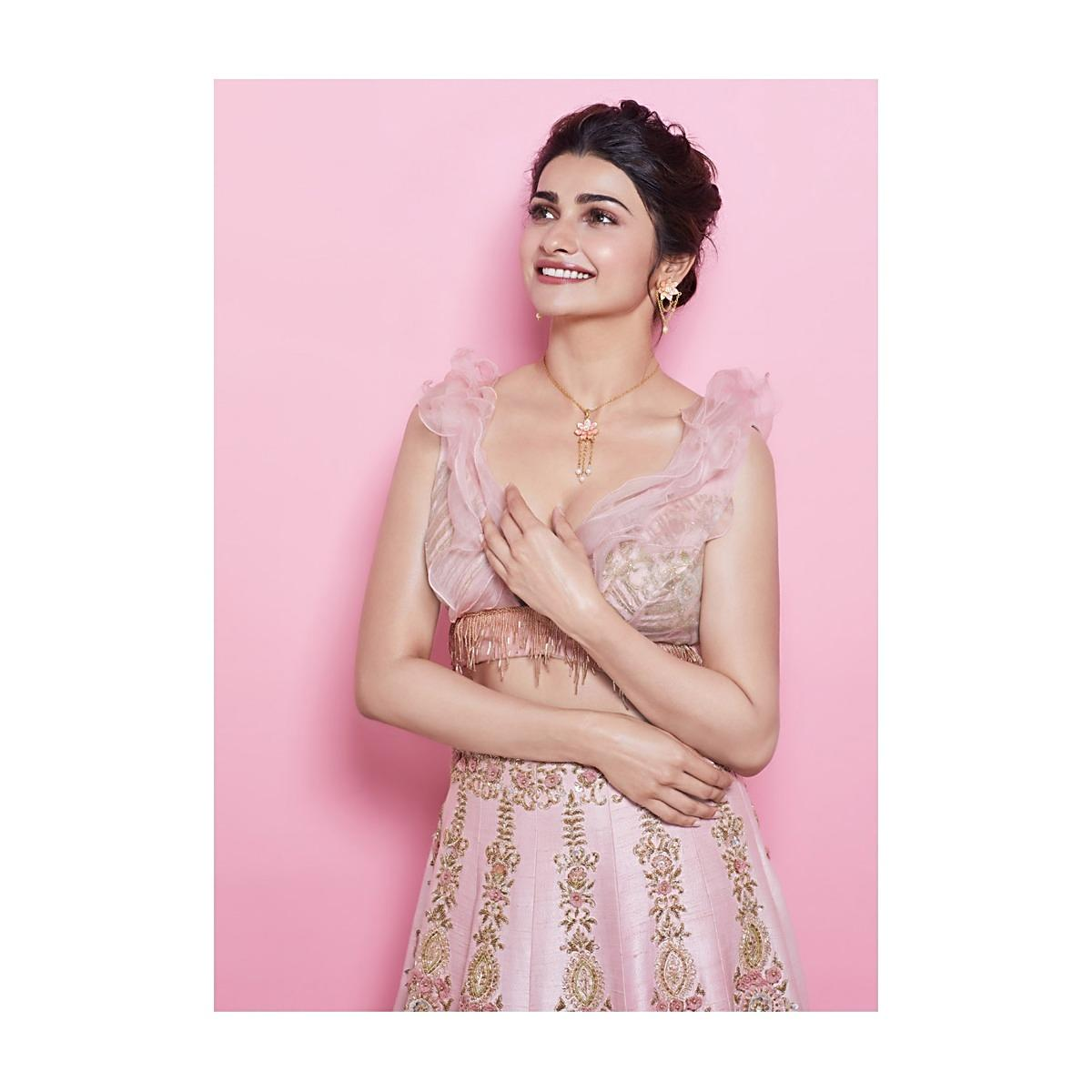 1726f8f00c Prachi Desai in kalki baby pink lehenga embellished in cut dana and 3D  flower embroidery More Detail