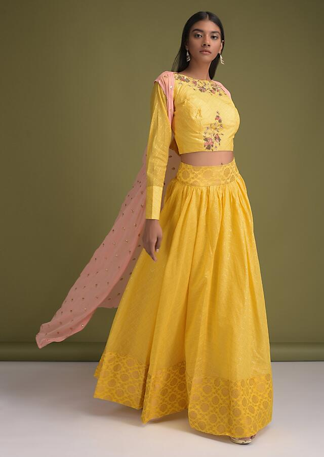 Daffodil Yellow  Skirt And Crop Top With Weaved Checks And Embellished Peach Jacket Online - Kalki Fashion