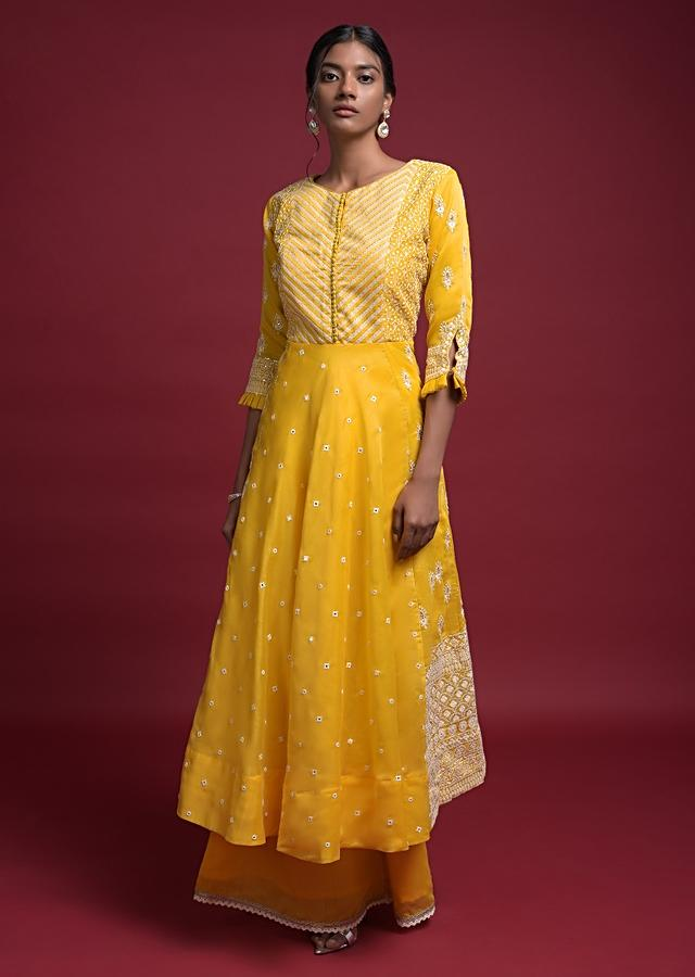 Daffodil Yellow A Line Suit In Cotton With Abla Embroidery And Matching Palazzo Bottoms Online - Kalki Fashion