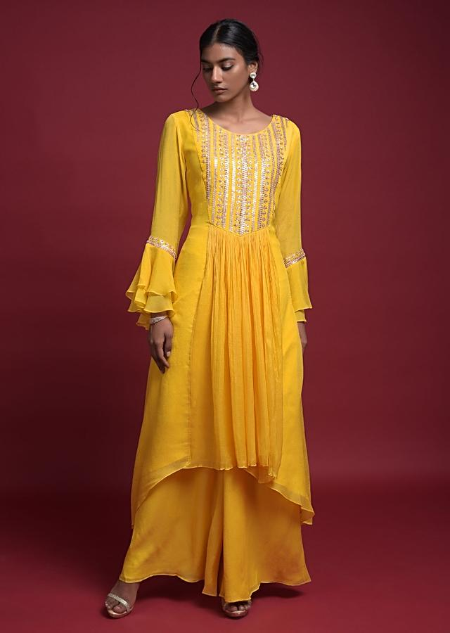 Daffodil Yellow A Line Suit In Crepe With High Low Hem And Bell Sleeves Online - Kalki Fashion