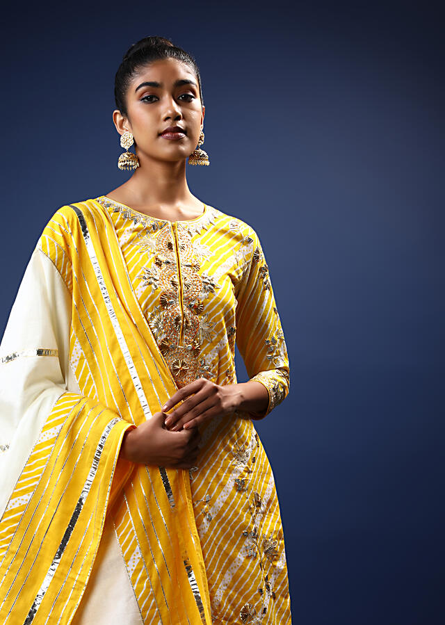 Daffodil Yellow And White Sharara Suit With Lehariya Print And Gotta Patti Embroidered Floral Motifs Online - Kalki Fashion