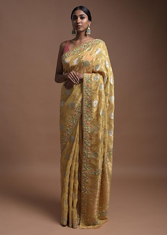 Daffodil Yellow Banarasi Saree In Georgette With Golden And Silver Weaved Floral Jaal Online - Kalki Fashion