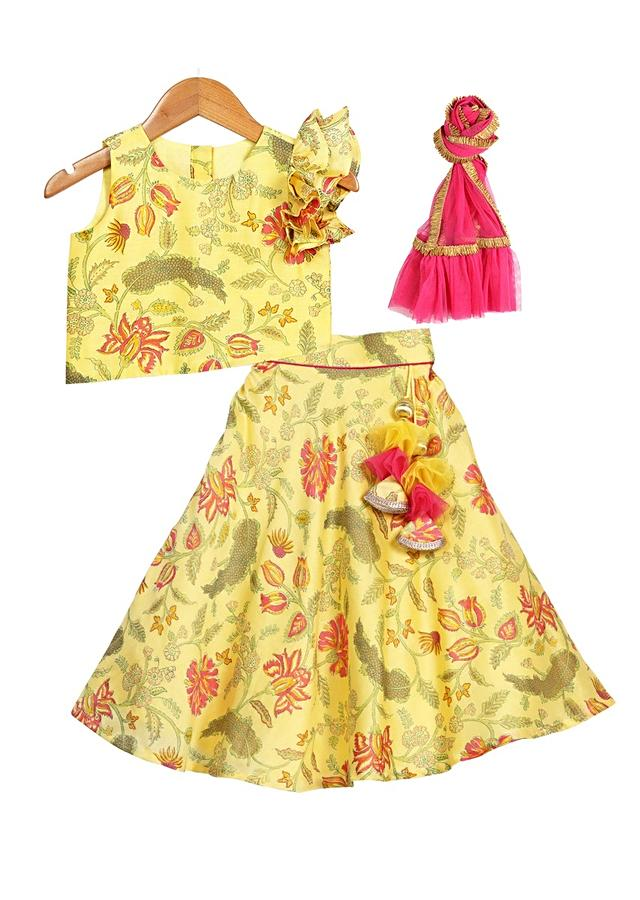 Daffodil Yellow Lehenga Choli With Floral Print And Statement Ruffle Sleeve Online - Free Sparrow