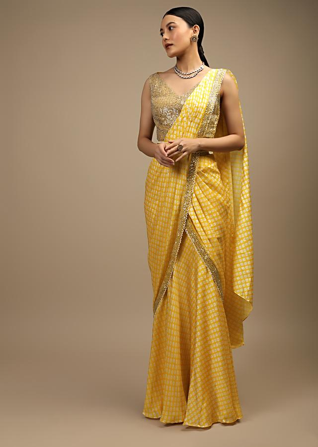 Daffodil Yellow Ready Pleated Mermaid Cut Saree In Satin With Bandhani Print And Sequins Embroidered Crop Top Online - Kalki Fashion
