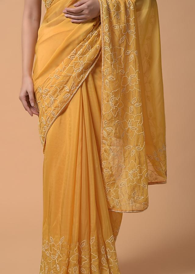 Daffodil Yellow Saree In Organza With Moti And Cut Dana Embellished Floral Design On The Border Online - Kalki Fashion