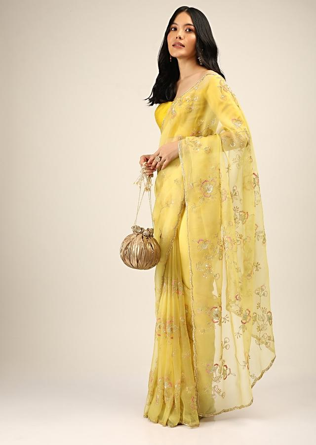 Daffodil Yellow Saree In Organza With Multi Colored Sequins And Resham Embroidered Flowers And Cut Dana Accents Online - Kalki Fashion