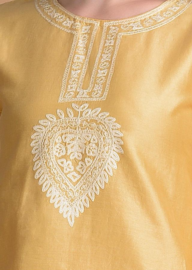 Daffodil Yellow Sharara Suit With Thread And Sequins Embroidery Online - Kalki Fashion