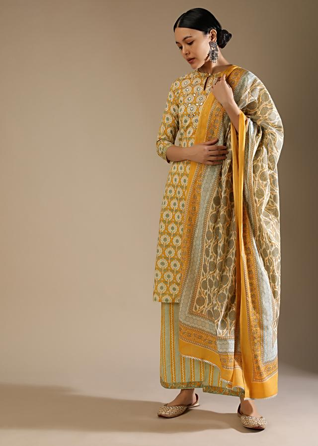 Daffodil Yellow Straight Cut Palazzo Suit With Jaal Print And Mirror Embroidery Online - Kalki Fashion