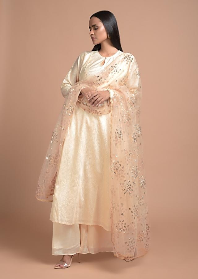 Daisy White A Line Suit In Cotton With Woven Zari Checks And Attached Jacket Design Online - Kalki Fashion