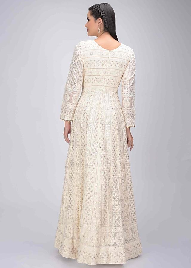 Daisy White Suit Set In Cotton With Lucknowi Work And Bandhej Dupatta Online - Kalki Fashion