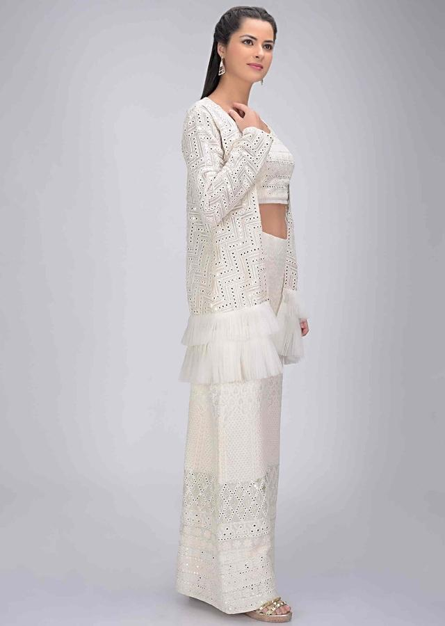 Daisy White Palazzo And Crop Top Set In In Georgette With Matching Ruffle Layered Jacket Online - Kalki Fashion