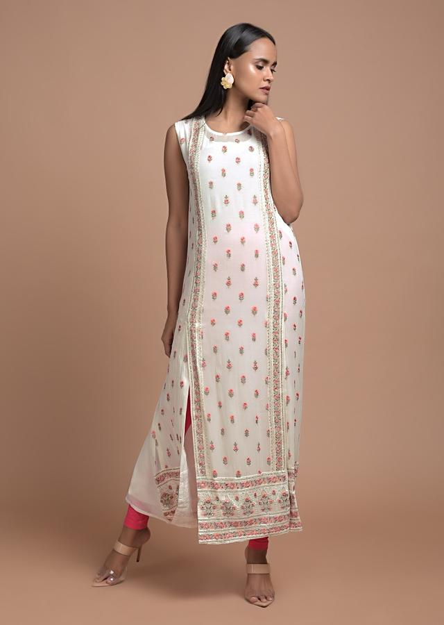 Daisy White Kurti In Georgette With Double Front Slits And Colorful Resham Embroidered Buttis Online - Kalki Fashion