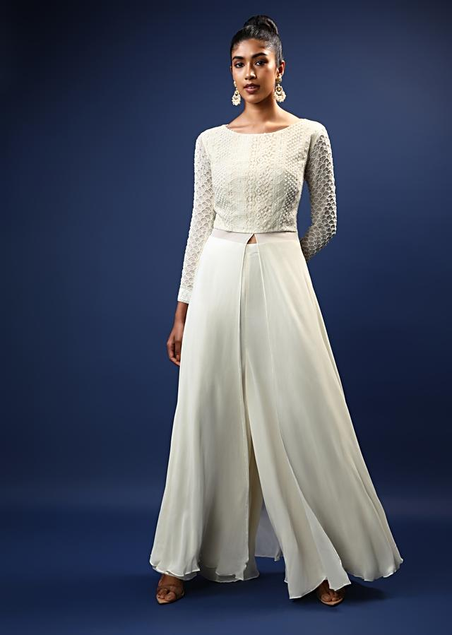 Daisy White Palazzo Suit In Georgette With A Long Slit Top In Crochet Lace Adorned In Moti Bead Detailing Online - Kalki Fashion