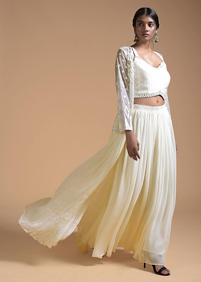 Daisy White Palazzo Suit In Georgette With Aabla Embroidered Long Jacket Online - Kalki Fashion