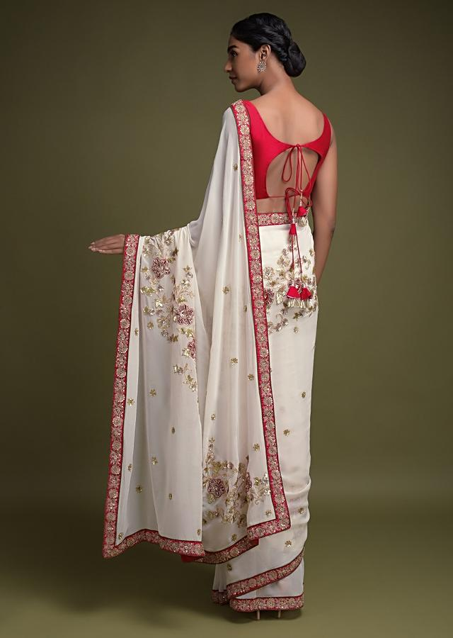 Daisy White Saree In Georgette With Velvet Patchwork And Zari Work In Floral Motifs Online - Kalki Fashion