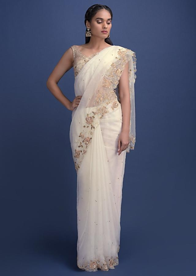 Daisy White Saree In Organza With 3D Floral Embroidery Online - Kalki Fashion