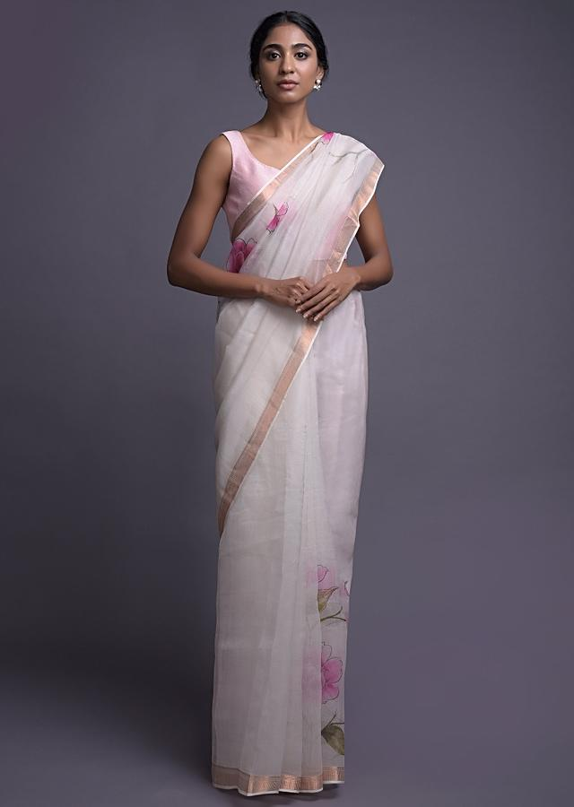 Daisy White Saree In Organza With Floral Print Online - Kalki Fashion
