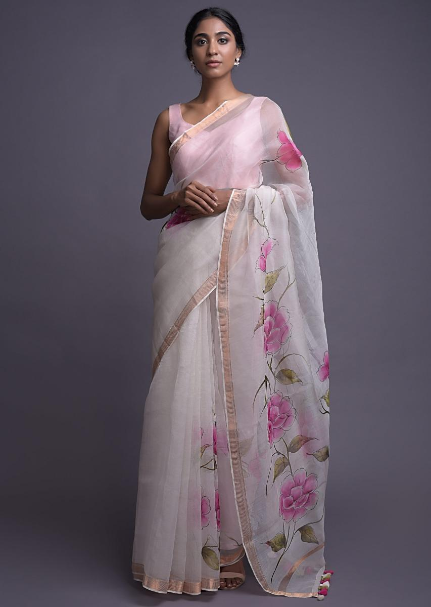 Daisy White Saree In Organza With Floral Print