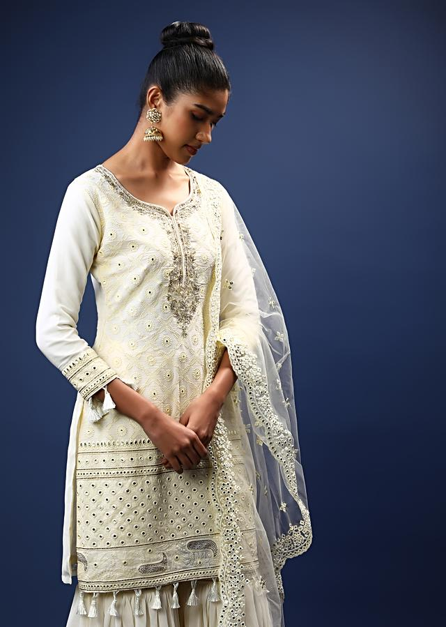 Daisy White Sharara Suit In Georgette With Lucknowi Thread Embroidered Jaal And Tassels On The Border Online - Kalki Fashion