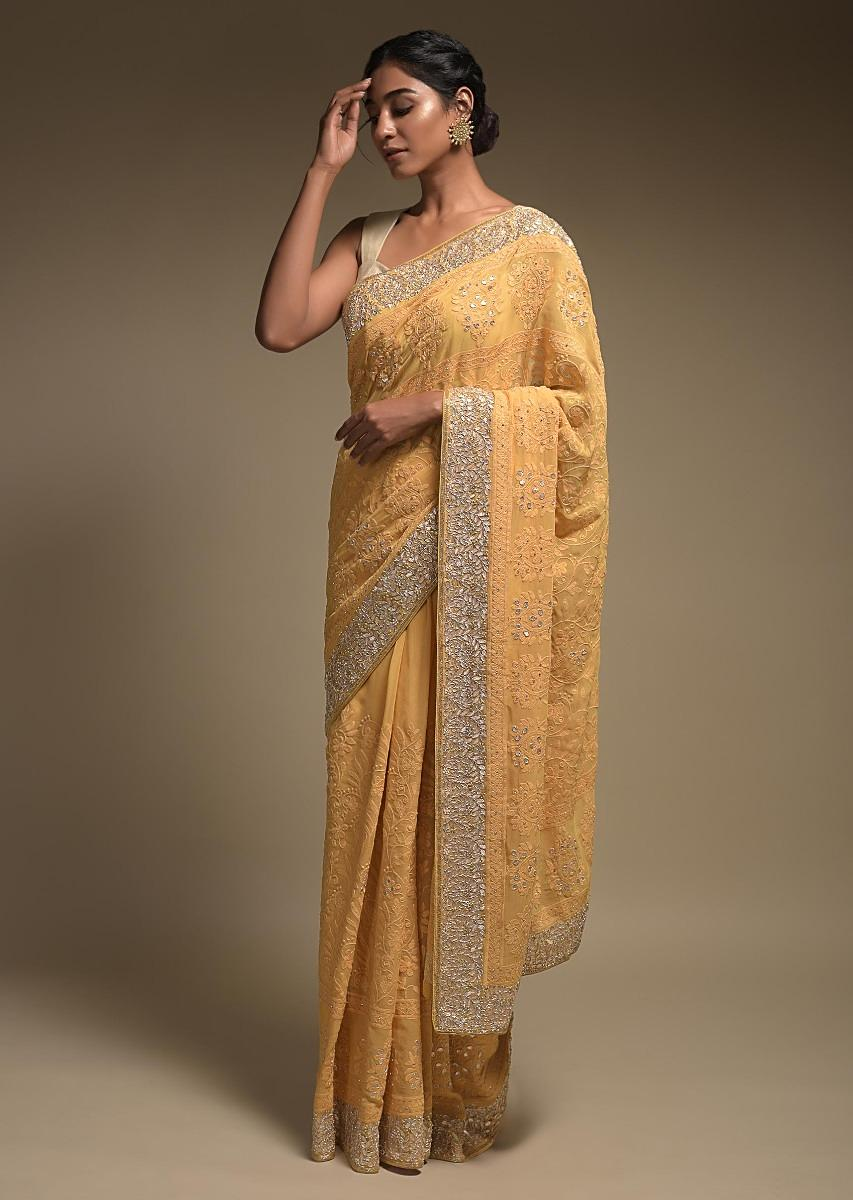 dandelion-yellow-saree-in-georgette-adorned-with-lucknowi-thread-embroidery-in-floral-jaal-online-kalki-fashion-k006133sb101y-sg18993_5_.jpg (853×1200)