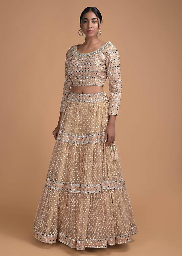 Dark Beige Lehenga In Net With Mirror And Thread Embroidery All Over Online - Kalki Fashion