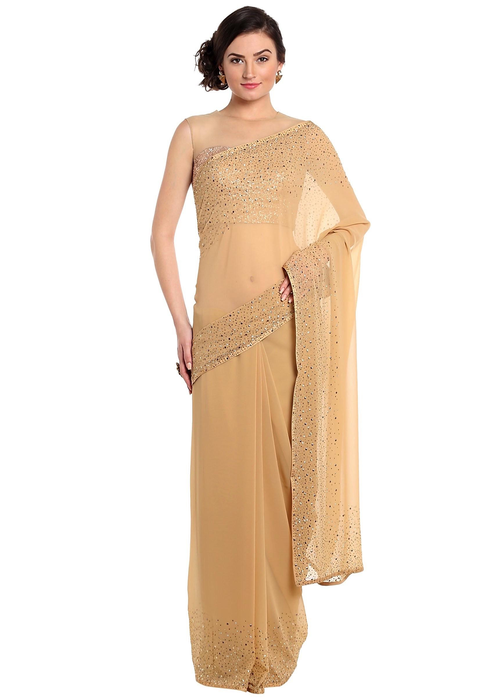 8f780c4477477 Dark beige saree adorn in gold and silver kundan embroidery only on KalkiMore  Detail