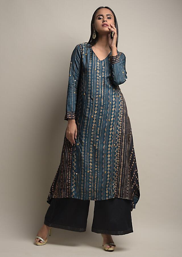 Dark Blue A Line Palazzo Suit In Silk Blend With Tie Dye Print And Golden Bead Accents Online - Kalki Fashion