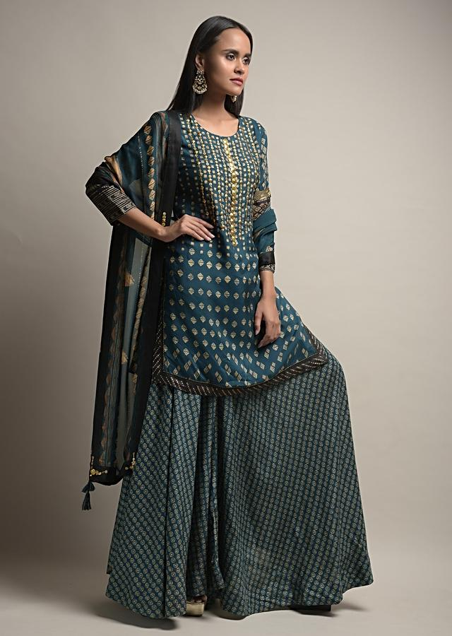 Dark Blue Flared Palazzo Suit In Silk Blend With Tie Dye Print And Golden Sequin Accents Online - Kalki Fashion