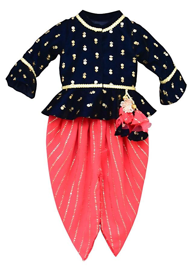 Dark Blue Peplum Top In Velvet With Butti Work And Coral Foil Printed Dhoti By Fayon Kids