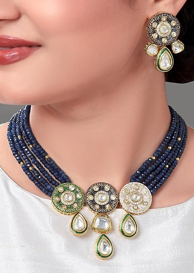 Dark Blue Semi Precious Beads Multi Strand Necklace With Kundan Pendant And Earrings Online - Joules By Radhika